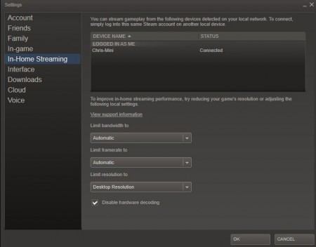 Steam Streaming Options
